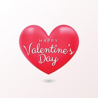 Glücklicher valentinstaggruß mit rotem herzformballon