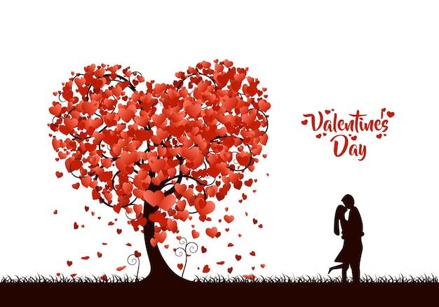 Glücklicher valentinstagherzbaumliebeshintergrund