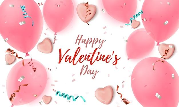 Glücklicher valentinstaghintergrund. abstrakte rosa grußschablone mit süßigkeitenherzen, luftballons, konfetti und bändern auf weißem hintergrund.-