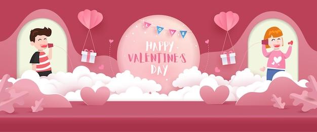 Glücklicher valentinstaghintergrund. liebesszene studio produktanzeige in rosa mit niedlichen elementen.