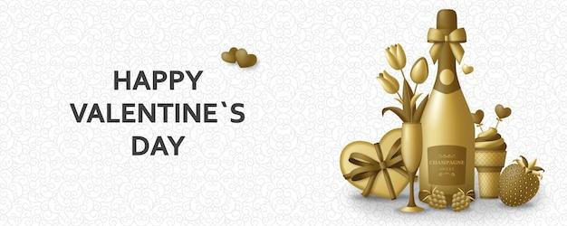 Glücklicher valentinstaghintergrund mit champagner, geschenk, blumen und beeren