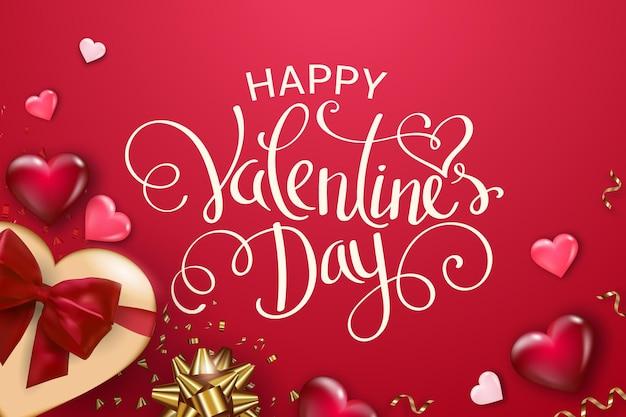 Glücklicher valentinstaghintergrund mit geschenkbox, volumenherzen und -bögen.