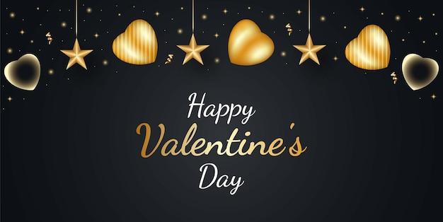 Glücklicher valentinstaghintergrund mit goldenem herzen