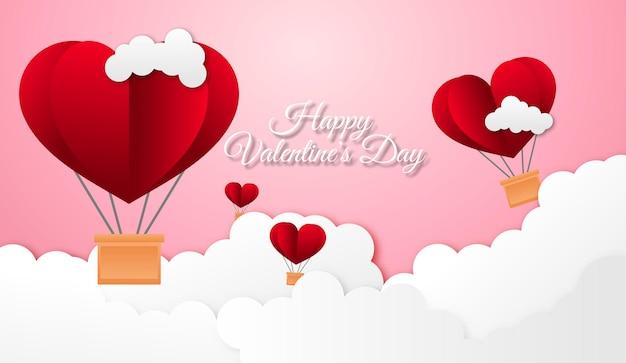 Glücklicher valentinstaghintergrund mit heißluftballonherzform