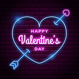 Glücklicher valentinstaghintergrund mit hellem rosa neonherz auf roten backsteinmauern
