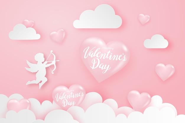 Glücklicher valentinstaghintergrund mit herzen, amor und wolken, festliches banner.
