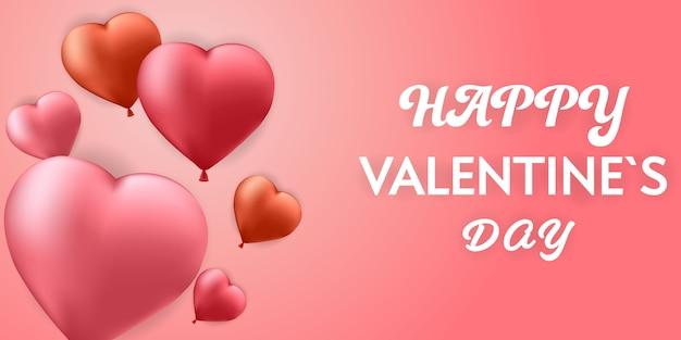 Glücklicher valentinstaghintergrund mit herzen steigt fahne auf.