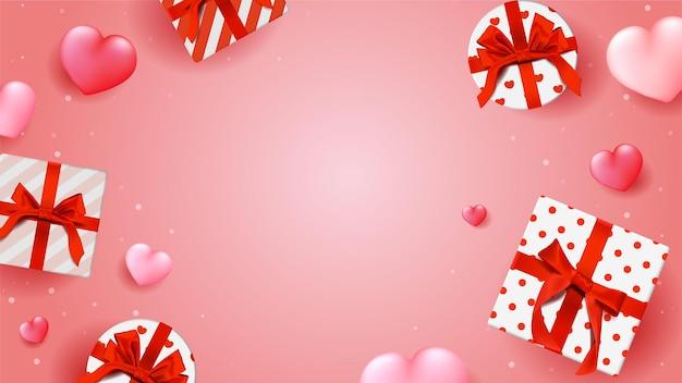 Glücklicher valentinstaghintergrund mit herzen