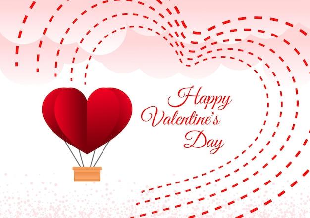 Glücklicher valentinstaghintergrund mit luftballondekoration
