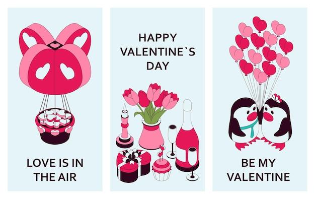 Glücklicher valentinstaghintergrund mit niedlichen isometrischen elementen. grußkarte und liebesschablone