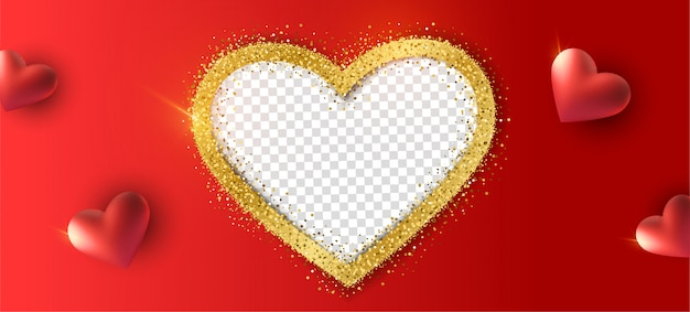 Glücklicher valentinstaghintergrund mit realistischem herzen, fotorahmen mit goldfunkeln.