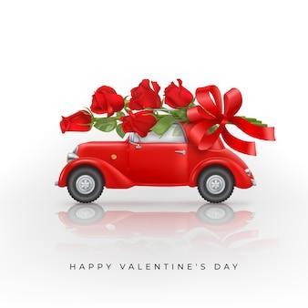 Glücklicher valentinstaghintergrund mit roten rosen auf dem dach eines roten spielzeugautos