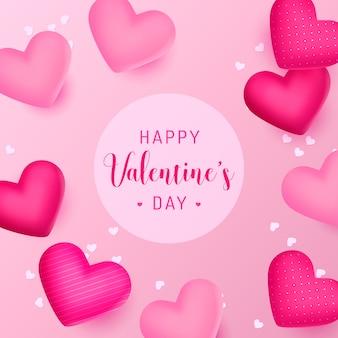 Glücklicher valentinstaghintergrund mit schönen realistischen herzen
