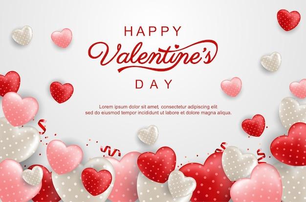 Glücklicher valentinstaghintergrund mit süßem herzen und reizenden gegenständen auf rosa.