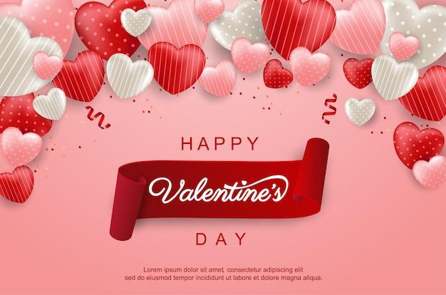 Glücklicher valentinstaghintergrund mit süßem herzen und schönen gegenständen.
