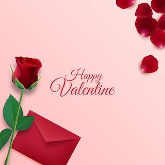 Glücklicher valentinstaghintergrund mit umschlag- und rosenblumenblattdekorationen auf rosa hintergrund