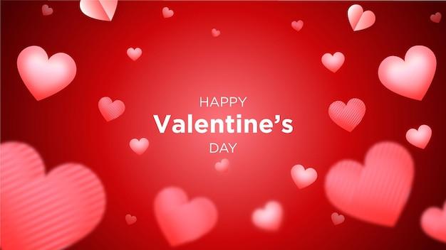 Glücklicher valentinstaghintergrund oder fahne mit süßen herzen auf rot.