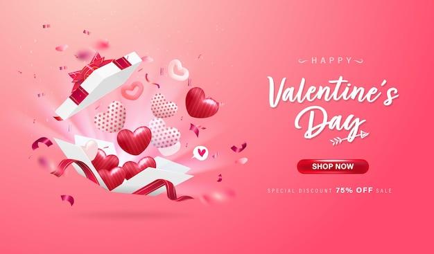 Glücklicher valentinstaghintergrund oder liebesfahne mit reizendem herzen, bändern, konfetti. süße elemente.