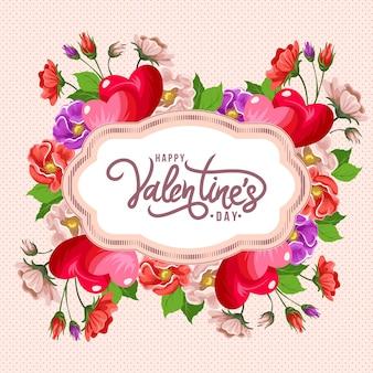 Glücklicher valentinstagskarten der blumenweinlese