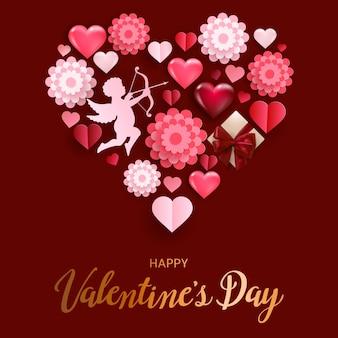 Glücklicher valentinstagskarten- oder fahnenschablonentext mit amor, herzen und papierblumen.