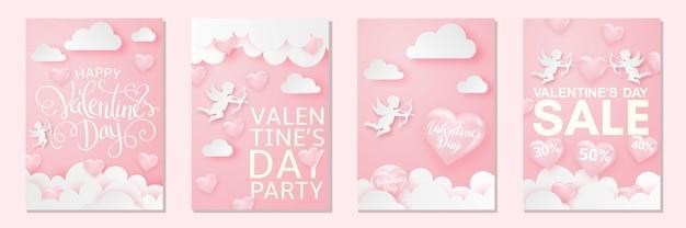 Glücklicher valentinstagskartensatz mit herzen, amor und wolken, zarter rosa festlicher hintergrund.