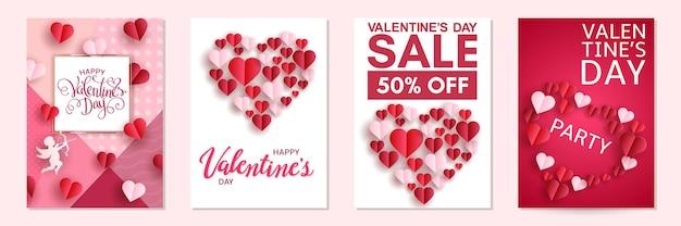 Glücklicher valentinstagskartensatz mit herzen und amor, festlicher hintergrund.