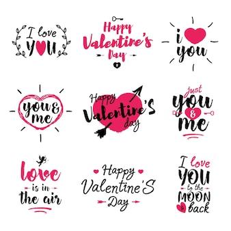 Glücklicher valentinstagssatz mit beschriftetem typografie-textzeichen isoliert