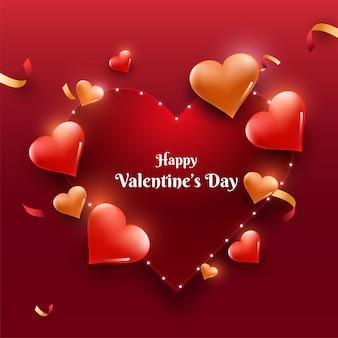 Glücklicher valentinstagstext auf rotem rahmen verziert mit glänzenden herzen.