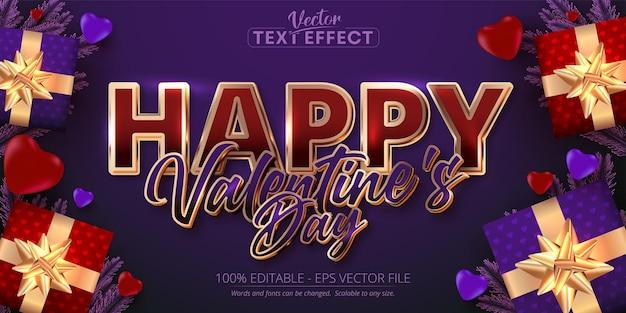 Glücklicher valentinstagstext, glänzender roségoldfarbener stil bearbeitbarer texteffekt auf lila hintergrund