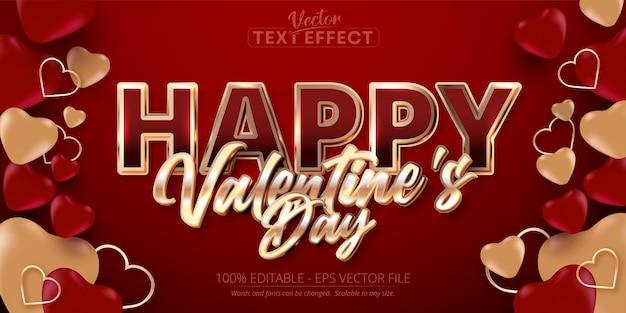 Glücklicher valentinstagstext, glänzender roségoldfarbener stil bearbeitbarer texteffekt auf rotem hintergrund