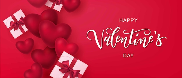 Glücklicher valentinstagstext, handschrifttypografie