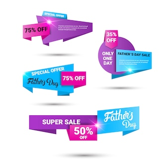 Glücklicher vater day holiday sale shopping rabatt banner set