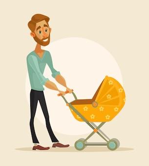 Glücklicher vater mit baby. flache karikaturillustration des vektors