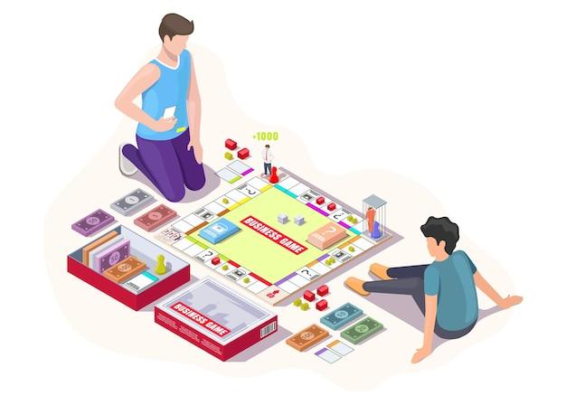 Glücklicher vater mit kind, das monopoly-brettspiel auf dem boden sitzt, isometrische vektorgrafik. freizeitaktivitäten zu hause.
