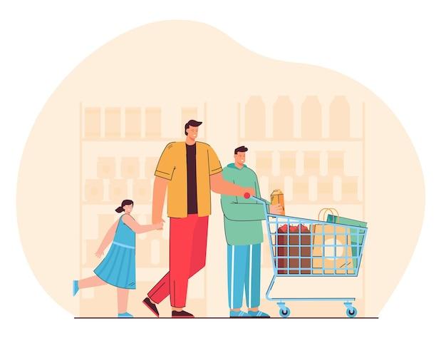 Glücklicher vater mit kindern, die produkte in der flachen illustration des supermarkts kaufen
