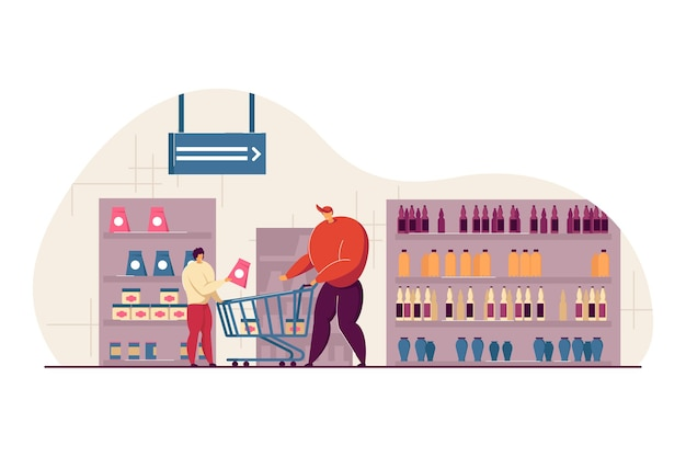 Glücklicher vater und sohn, die lebensmittel in der flachen illustration des supermarkts kaufen