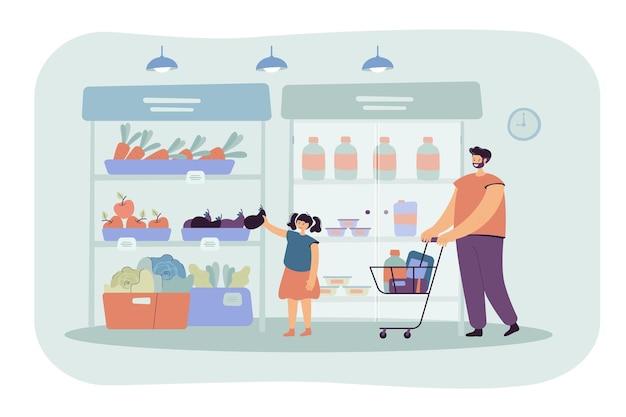Glücklicher vater und tochter, die lebensmittel in der flachen illustration des supermarkts kaufen. karikaturillustration