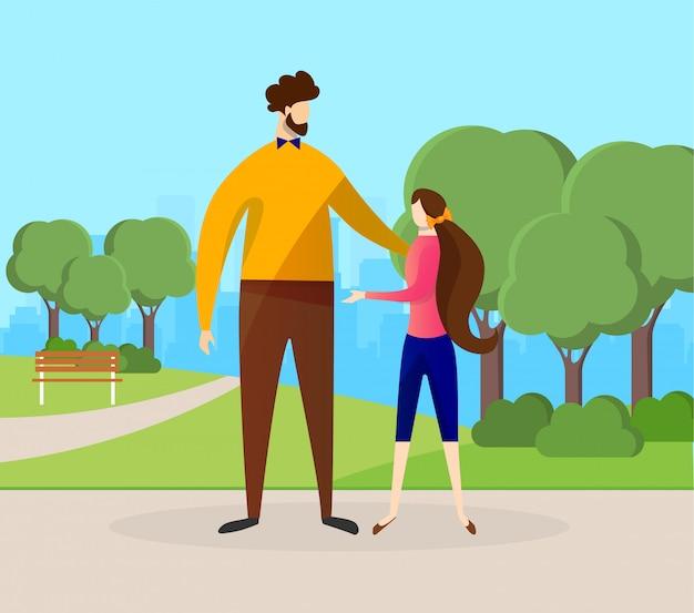 Glücklicher vater und tochter, die zeit im park verbringt.