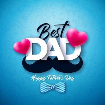 Glücklicher vatertagsgrußkartenentwurf mit gepunkteter fliege, schnurrbart und rotem herzen auf blauem hintergrund. feier illustration für papa.