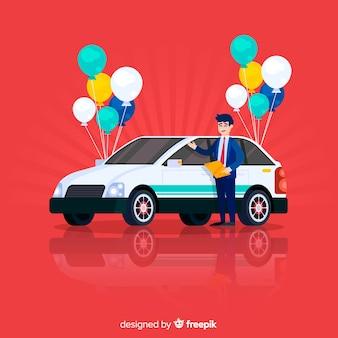 Glücklicher verkäufercharakter mit auto und ballonen
