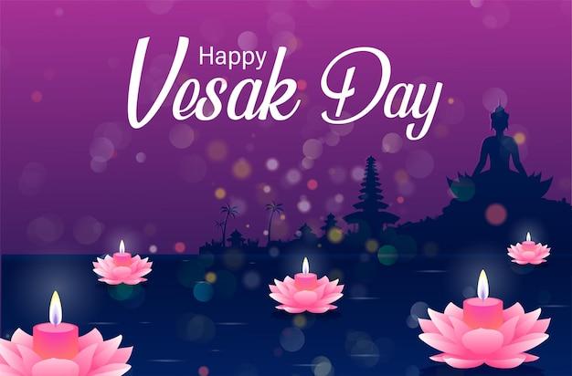 Glücklicher vesak-tag budha purnama hintergrund mit realistischem rosa lotus