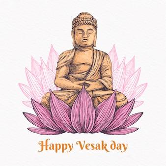 Glücklicher vesak-tag mit lotus und buddha