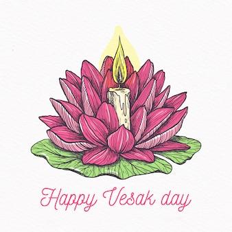 Glücklicher vesak-tag mit lotus und kerze