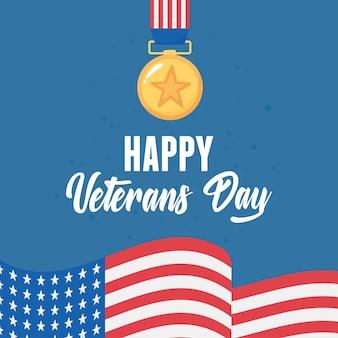 Glücklicher veteranentag, amerikanisches symbol der medaillenauszeichnung sternflagge, soldat der us-streitkräfte.
