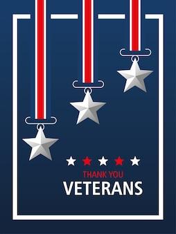 Glücklicher veteranentag, danke sie karte, medaillensterne patriotisches symbol