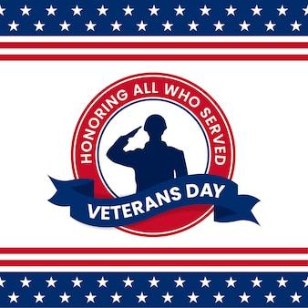 Glücklicher veteranentag, der alle ehrt, die retro- vintages logoabzeichen-feierplakat dienten