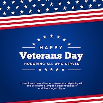 Glücklicher veteranentag, der alle ehrt, die retro- weinleselogoabzeichenfeierplakat-hintergrunddesign mit usa-flaggengraphikverzierung dienten