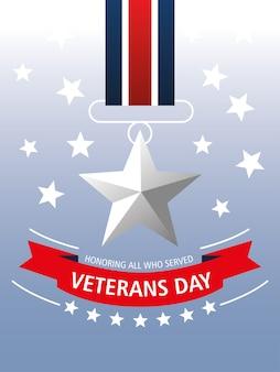 Glücklicher veteranentag, erinnerung an medaillenstern