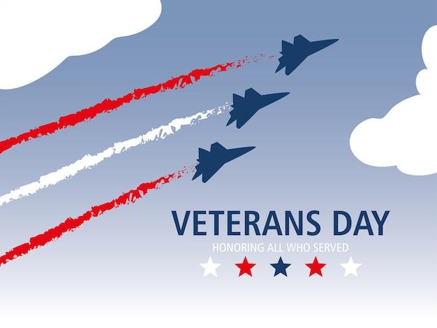 Glücklicher veteranentag, fliegende flugzeuge feiern gedenkveranstaltung
