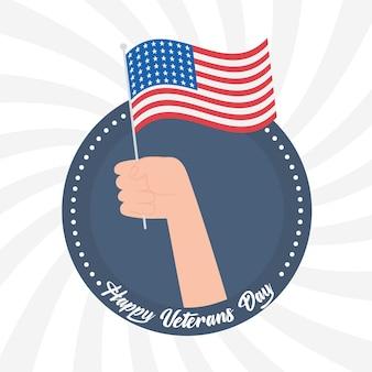 Glücklicher veteranentag, hand, die amerikanische flagge, soldat der us-streitkräfte hält.